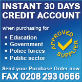 Public sector customers can order via fax on 0208 293 0666 for instant credit accounts